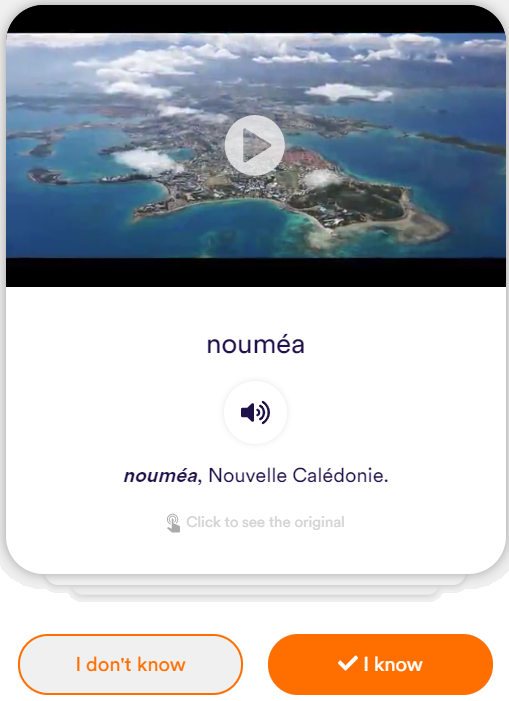 French learning flashcard from the TV show Pacific Criminal