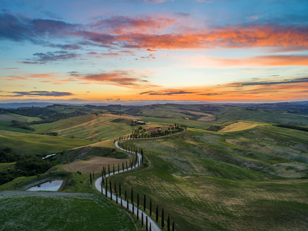 Italian landscape, view of a typical road in Tuscany