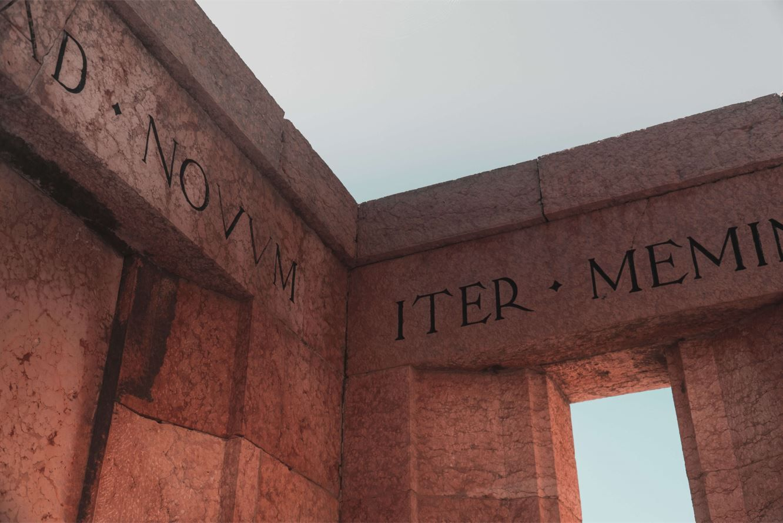 Pillars with Latin inscriptions found in Limone Sul Garda, BS, Italia