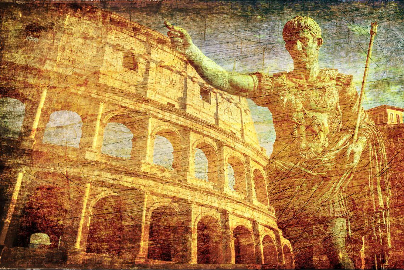 Ancient Romans Signs Background with Imperator Statue Conqueror Colosseum Old Europe Map