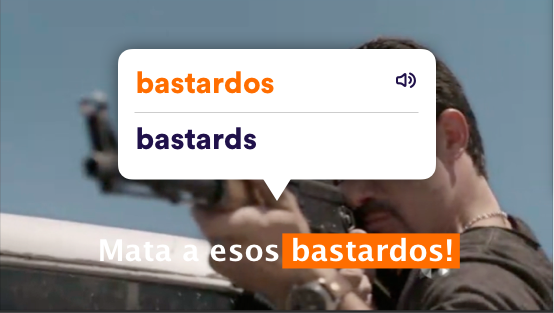 Example Spanish subtitle translation popup on video